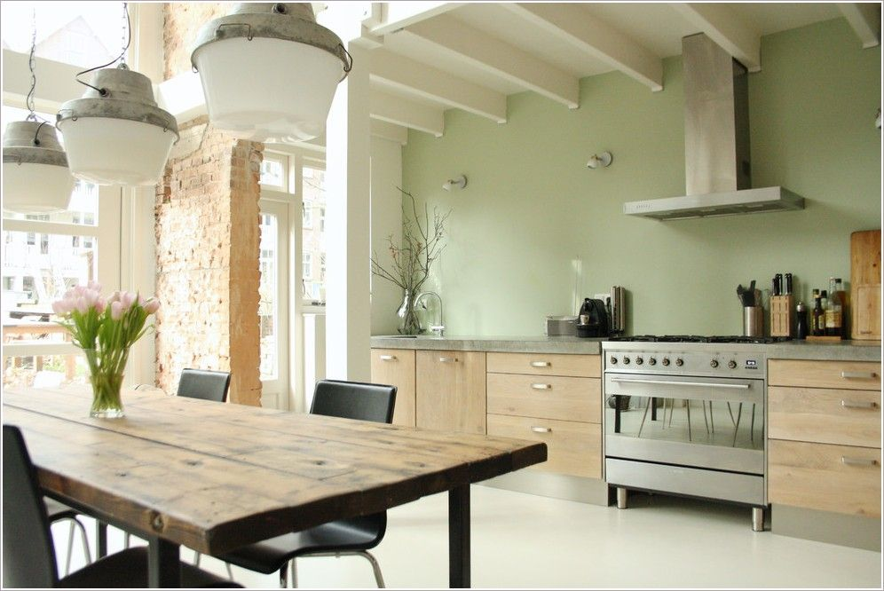 Mint Green Walls In Kitchen With Cuccino Units