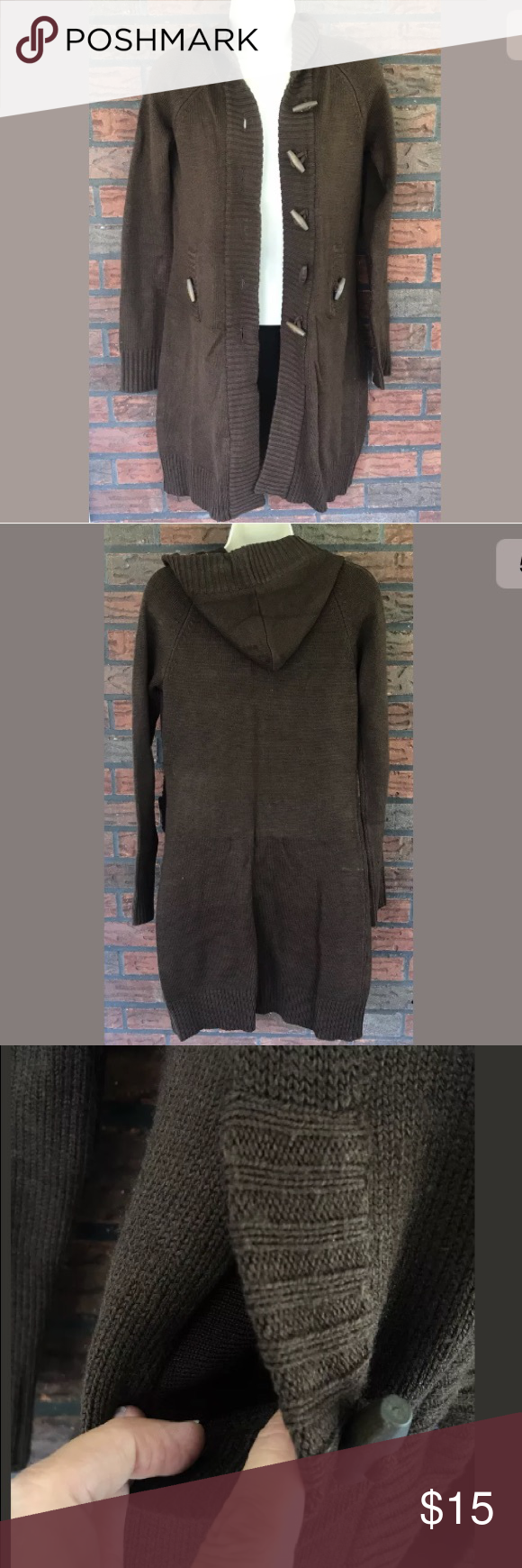 Long Cardigan Chocolate Brown Sweater Hood Pockets