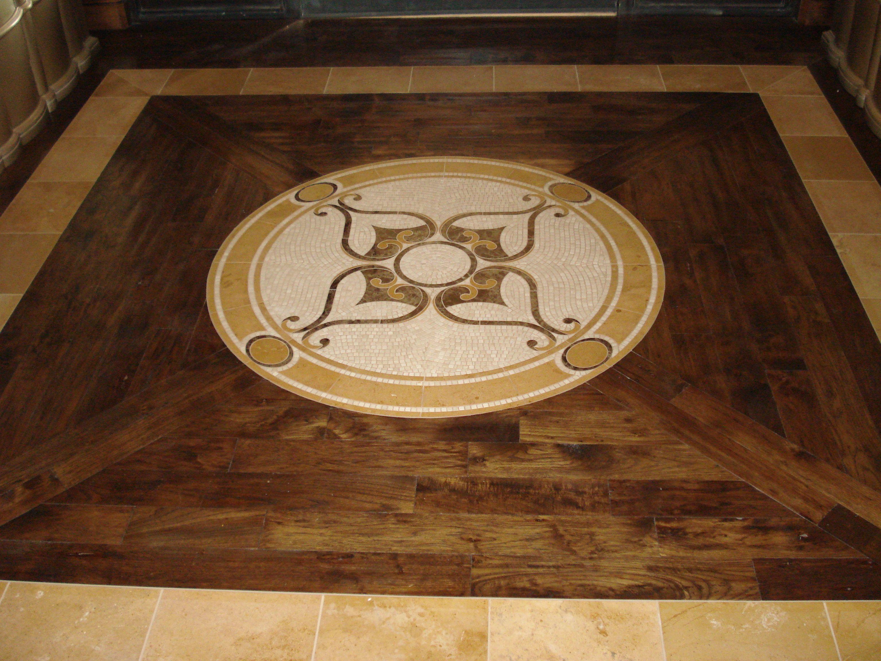 Custom Hardwood Design With Stone Medallion On Foyer Scottsdale Arizona Hardwood Design Hardwood Hardwood Floors