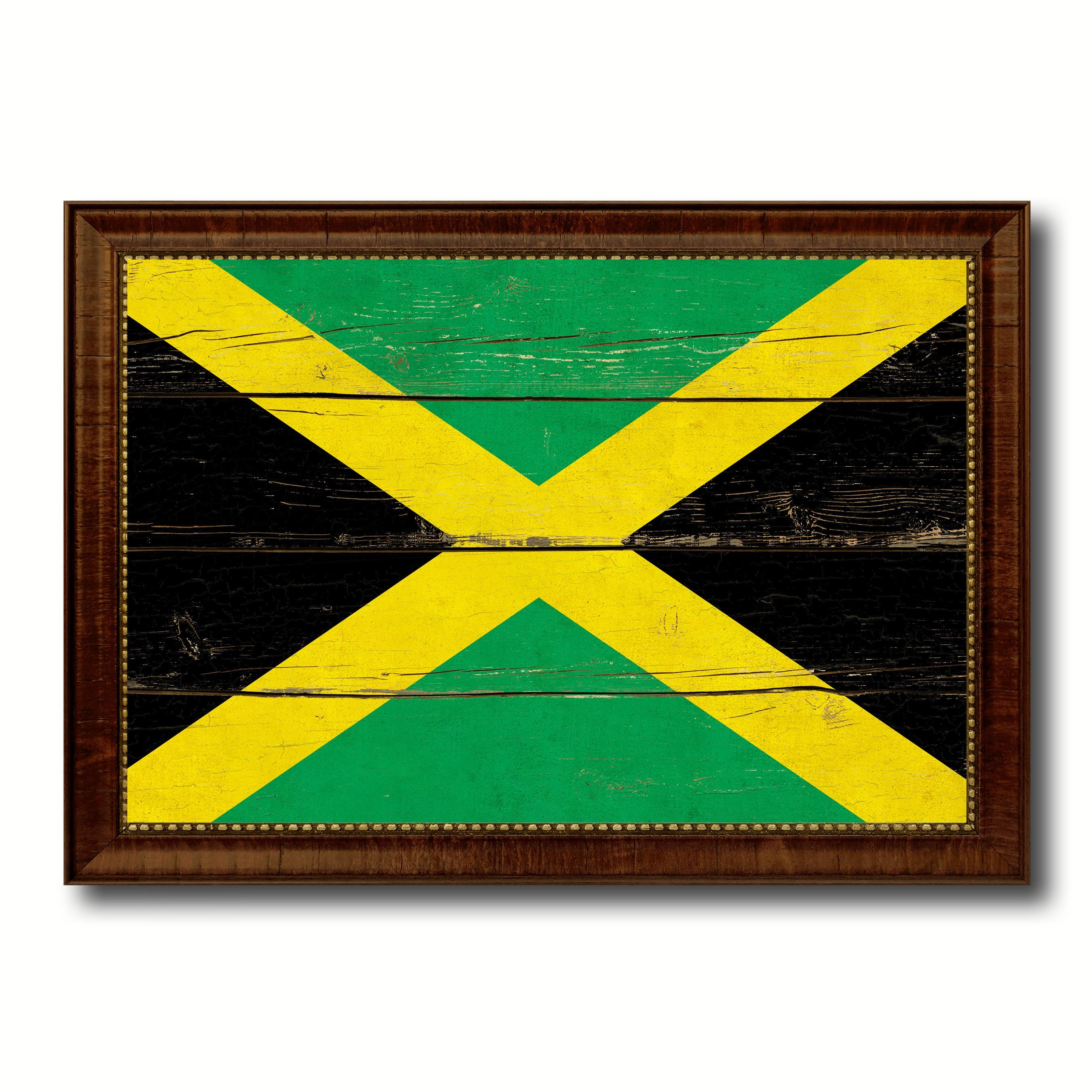 Jamaica Country Flag Vintage Canvas Print With Brown