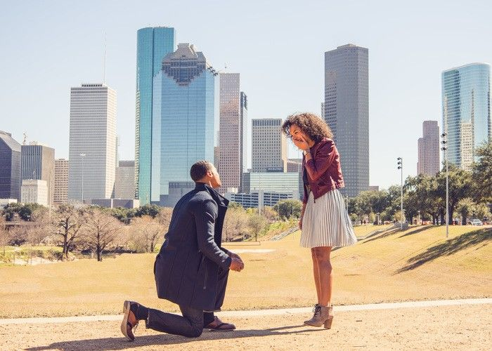 Quentin And Chandras Proposal In Houston Houston Skyline