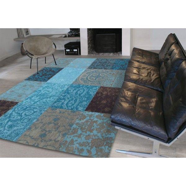 alfombra patchwork vintage chenille turquesa Tiendas On