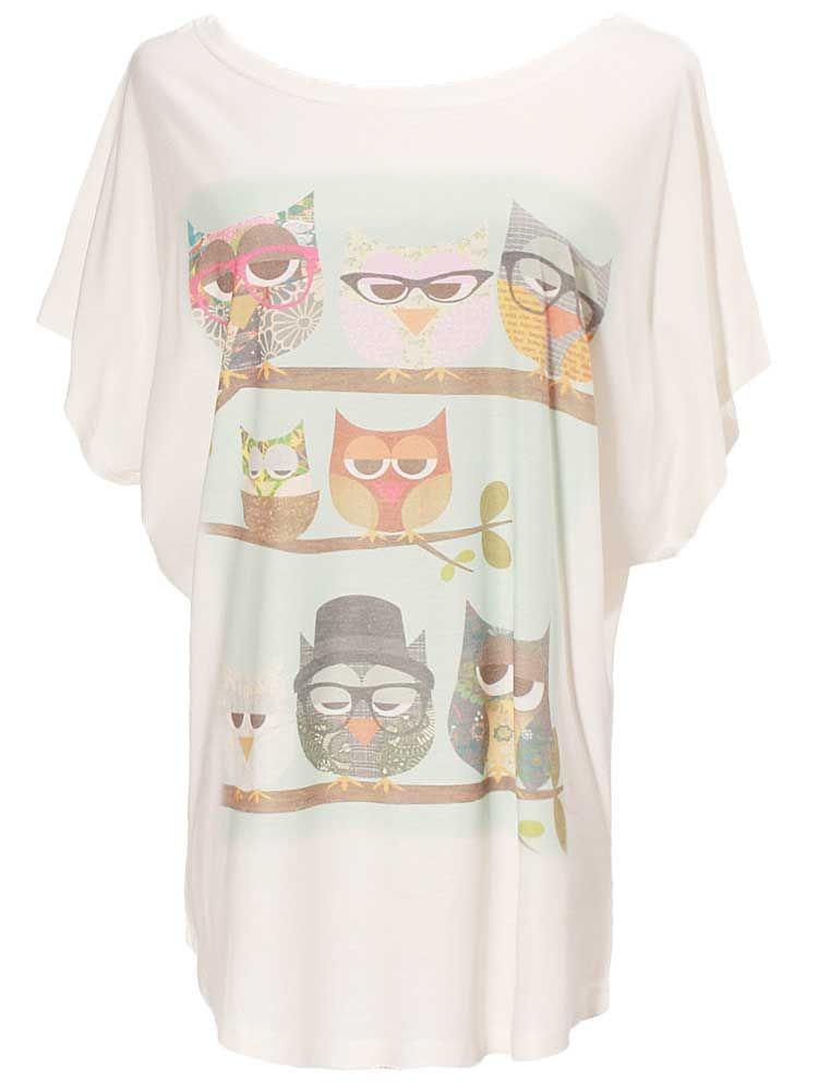 Fashion Owl Printed T-shirt