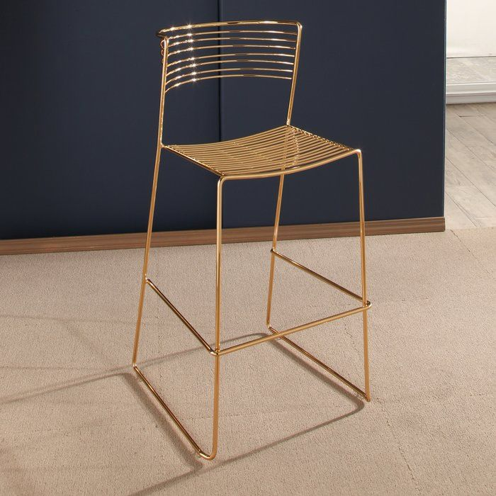 This Modern Bar Stool Is Jewelry For Your Dining Room With Its Sleek Gold Finish Iron Frame Has A High Gloss Clear Gold Bar Stools Iron Bar Stools Bar Stools