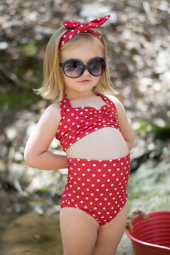9d2c3363d98 Girls retro red & white polka dot high waist bikini two piece kids sizes  2-12