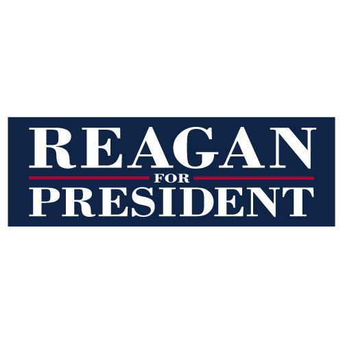 Reagan for president 9 inch x 3 inch political bumper sticker decal http