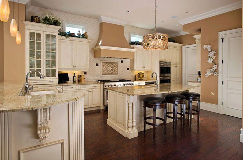 30 Antique White Kitchen Cabinets Design Photos Antique White Kitchen Antique White Kitchen Cabinets Dark Kitchen Floors