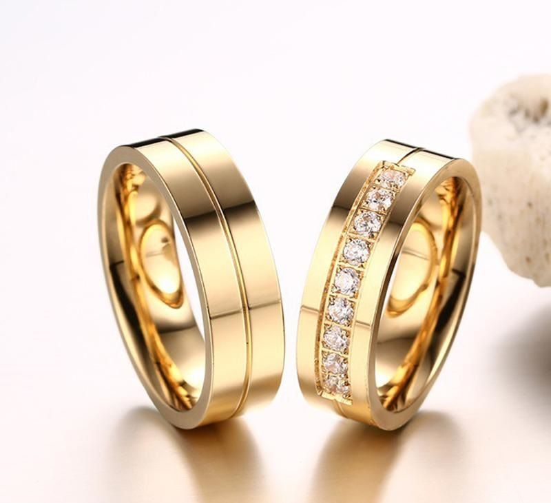 Wedding Ring Couple Gold Wedding Rings For Couples Wedding Rings For Couples With Names Engrav Gold Plated Wedding Band Couple Wedding Rings Couple Rings Gold