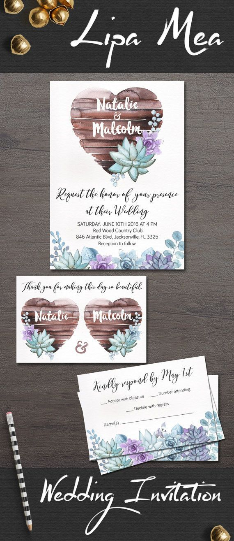 Succulent Wedding Invitation, Rustic Wedding Invitations, Printable ...