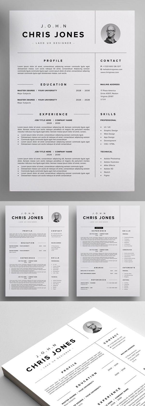 Resume Cv Minimalist Resume Template Resume Design Template Resume Design