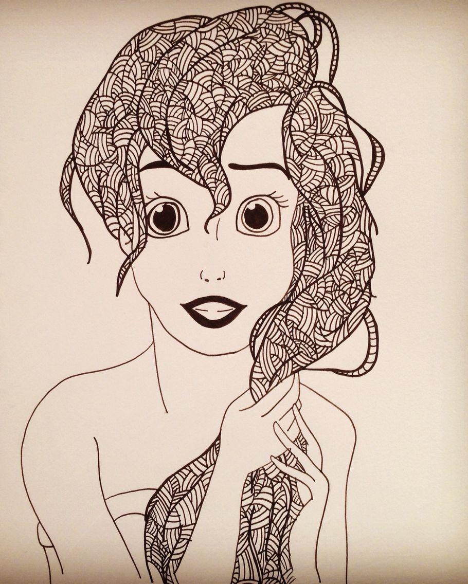 Disney Zentangle Coloring Pages : Zentangle disney ariel lsd pinterest