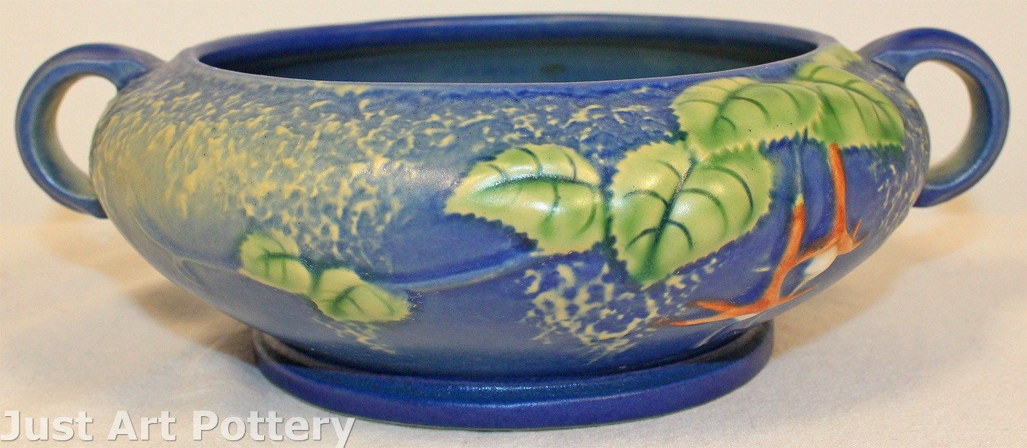 Roseville pottery fuchsia blue bowl 348 5 from just art for Pottery painting patterns