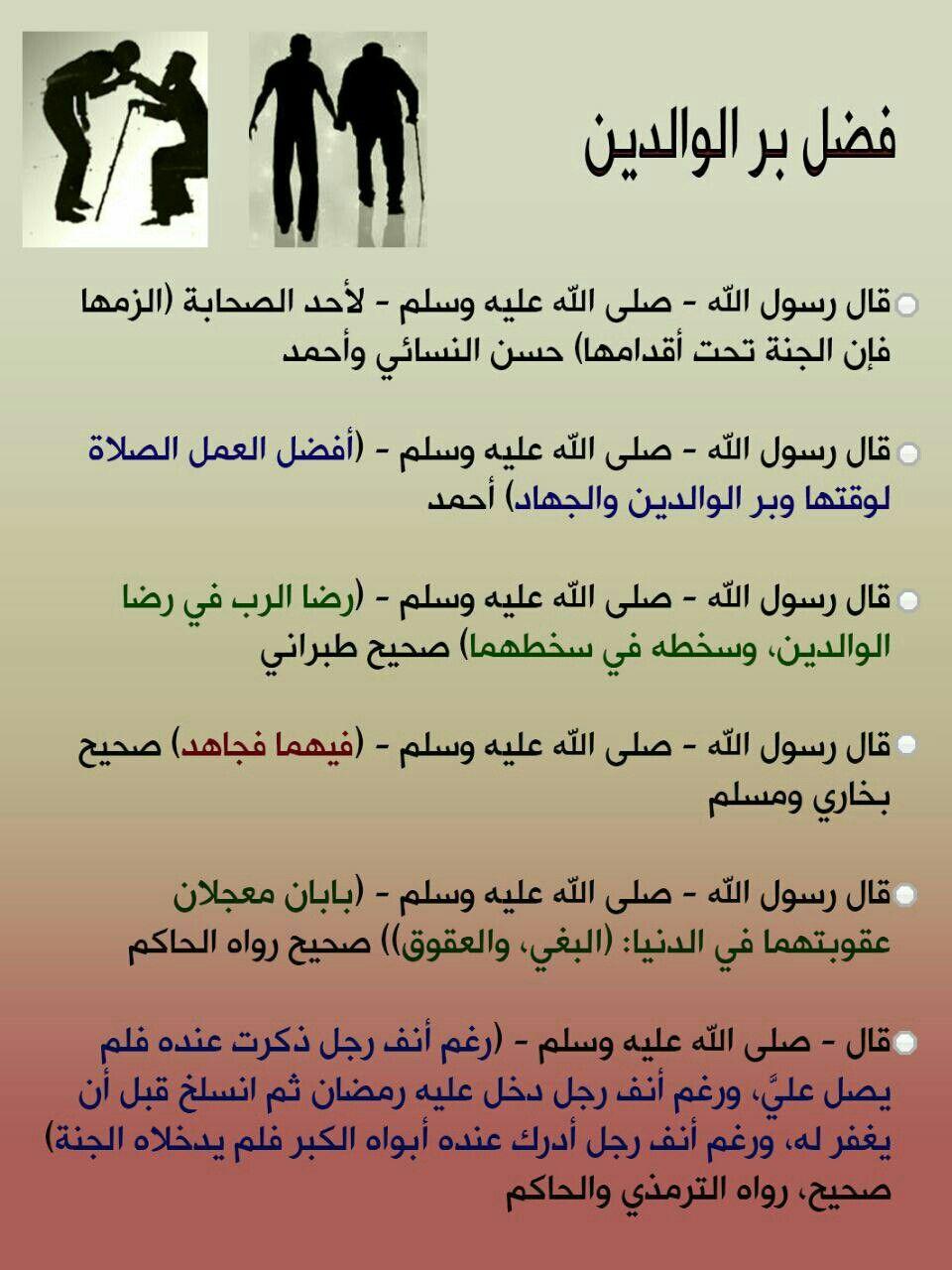 فضل بر الوالدين Arabic Quotes Words Quotes