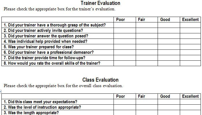 Training Evaluation Form Template Training Evaluation Training