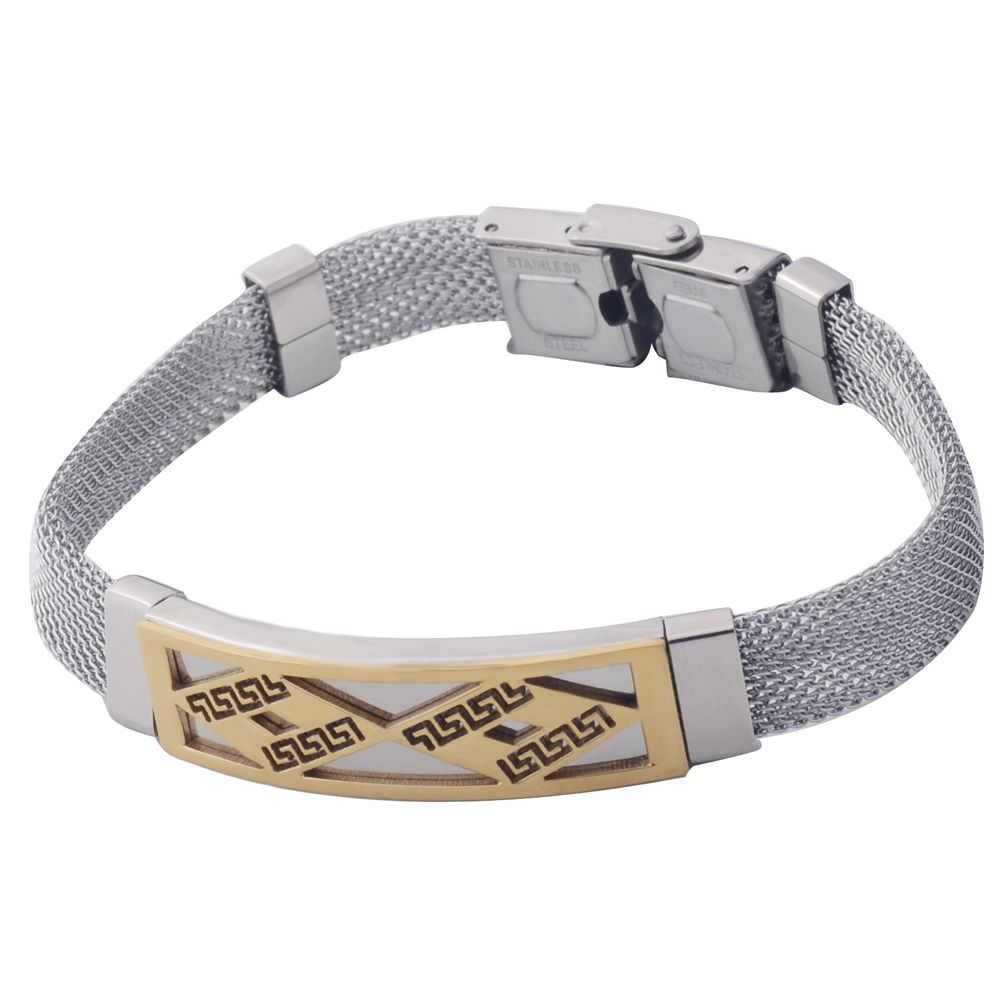 Menus braceletsubangles gold plated greek key pattern charms