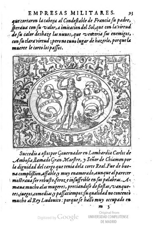 "Mitem animum agresti sub tegmine servo. ""I have a soft soul beneath a rough appearance"".  image of page 93"