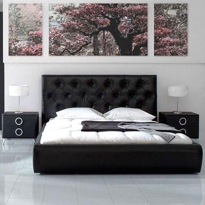 amenajare dormitor pat negru piele 140x200 pat dormitor modern