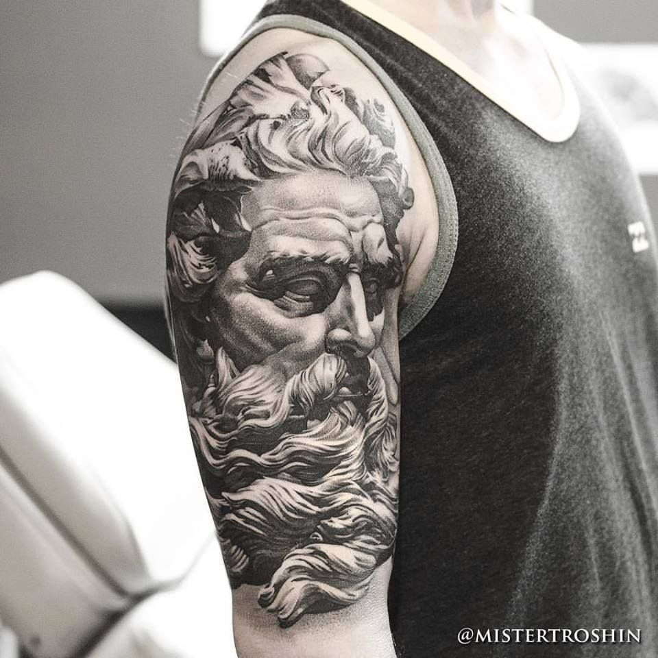 Chronic ink tattoo toronto tattoo poseidon statue tattoo done at our shop by guest artist