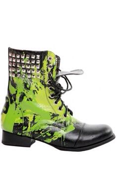 Lime green studded combat boots