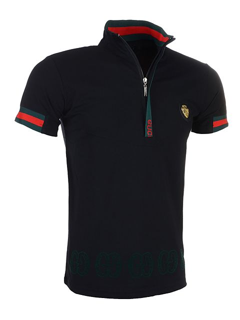 Best Selling Gucci Men Lapel Polo Shirt with Zipper in Black ... 0593ed03d7535