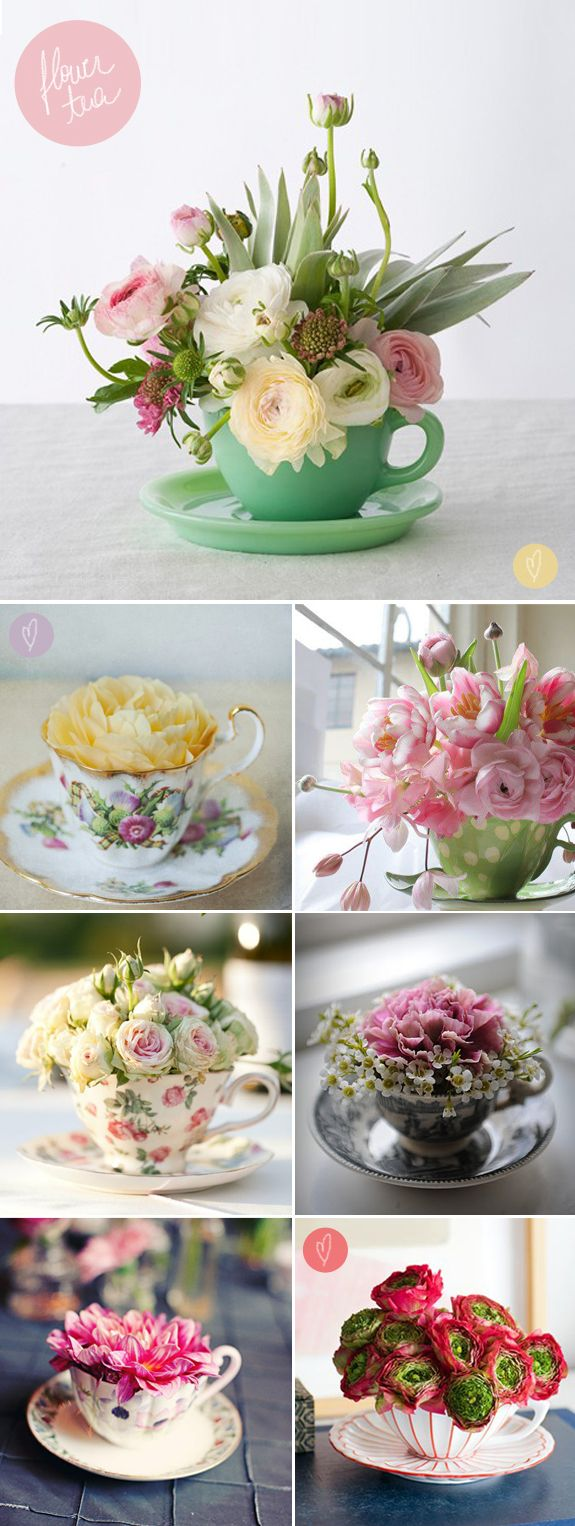Love these teacup floral arrangements - a great and simple way to dress the tables to all be unique. You can mix and match colored vintage cups  saucers with new.