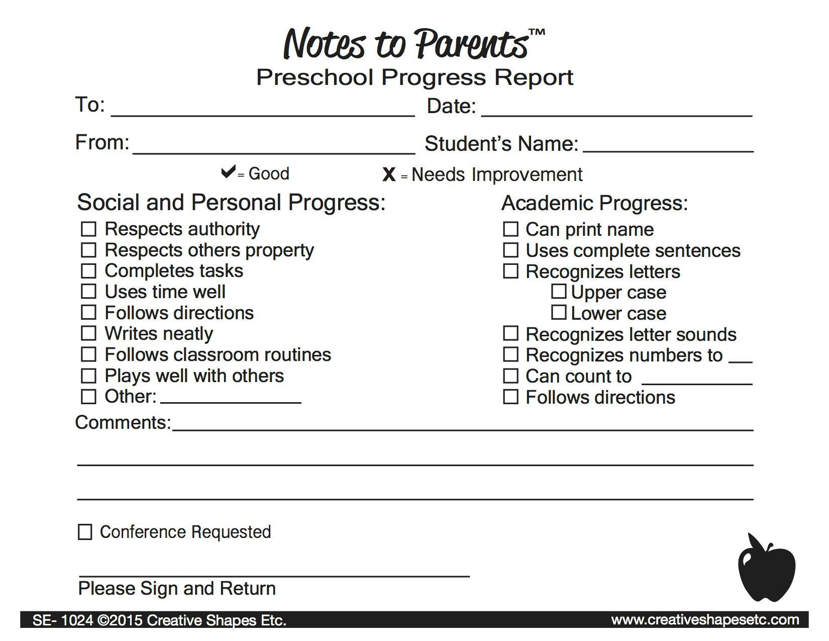Notes To Parents  Preschool Progress Report  Note Teacher And