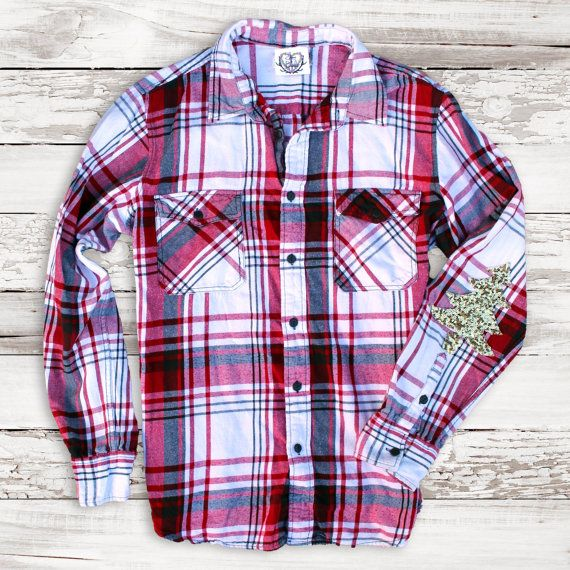 Hipster Grunge Flannel Shirt Plaid with Sequin by ICaughtTheSun