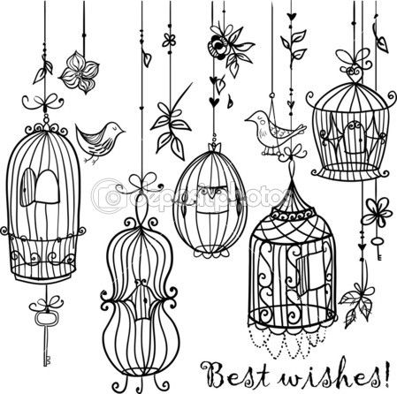 Doodle cages with birds. by fearsonline - Imagens vectoriais em stock