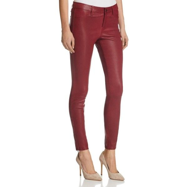 J Brand Mid Rise Skinny Leather Pants in Oxblood ($1,060) ❤ liked on Polyvore featuring pants, capris, oxblood, skinny crop pants, skinny leg pants, leather trousers, skinny pants and cropped capri pants