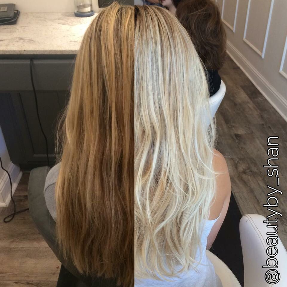 Before And After Dark Brassy Blonde To Platinum Blonde Rooty Balayage Blonde Beautyby Shan Platinumblond Brassy Blonde Blonde Hair Color Platinum Blonde