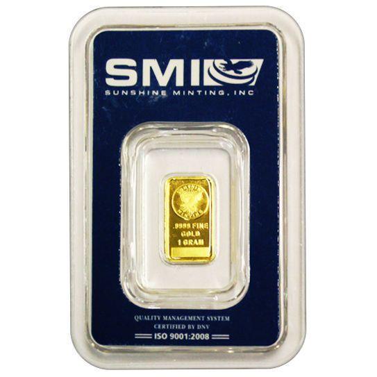 1 Gram 9999 Fine Gold Bar Sunshine Mint In Assay Mint Mark Si Made In Usa Gold Bar Gold Bullion Bars Mint Gold