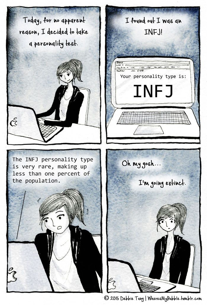 """wheresmybubble: """" Mini comic for today! I took a Myers-Briggs personality test and it turns out I'm an INFJ! I started reading more about it and realised it wasn't a very popular personality type :( """" A comic from last year about discovering my."""