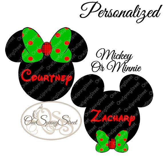 DISNEY Christmas Iron On Transfer Personalized Mickey Or MInnie Matching Family Vacation - Disney World Disney Land Cruise #1692