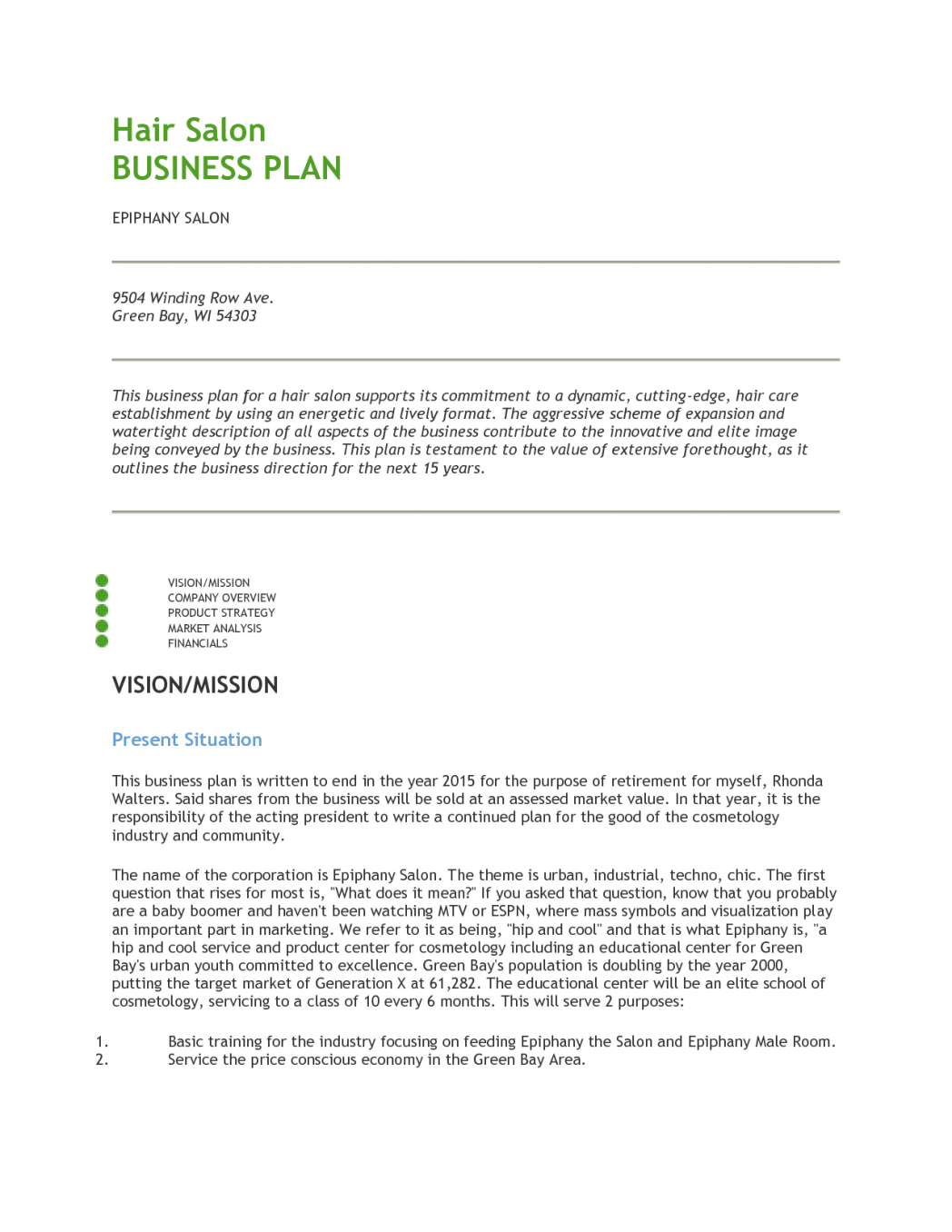 Hair Salon Business Plan Pdf  Best Opinion  Money And Fun