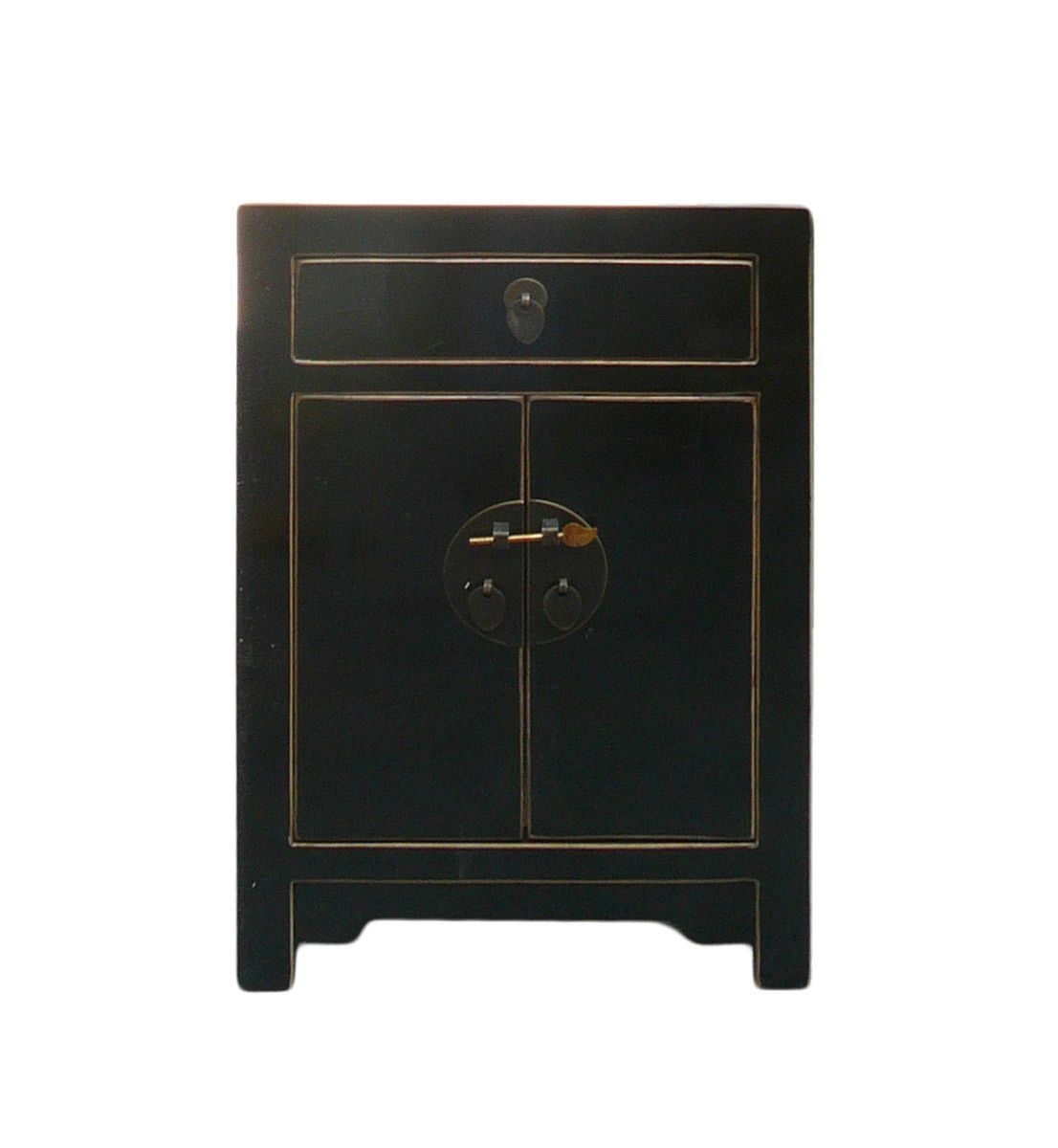 Chinese Black Lacquer Moon Face End Table Nightstand Cabinet cs841S ...