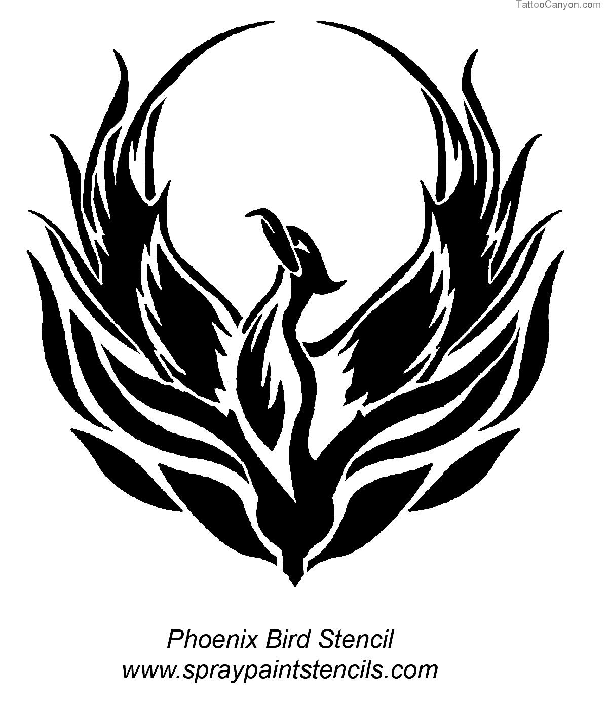 Tattoo Style Stencil Free Download 43224 Phoenix Bird