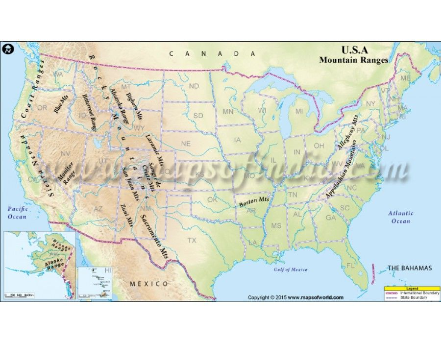 Buy USA Mountain Ranges Map in Digital Vector Format ...