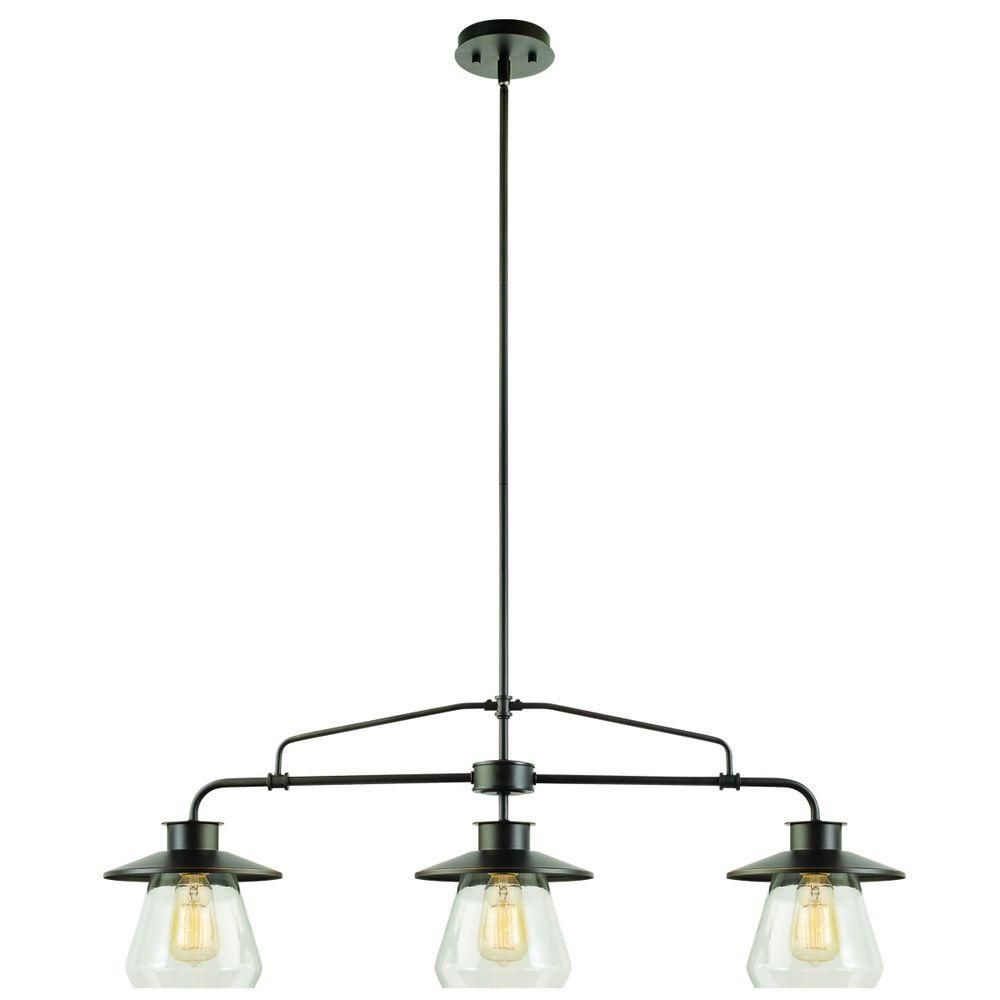 Globe Electric 3 Light Oil Rubbed Bronze Vintage Hanging Pendant With Clear  Glass Shades