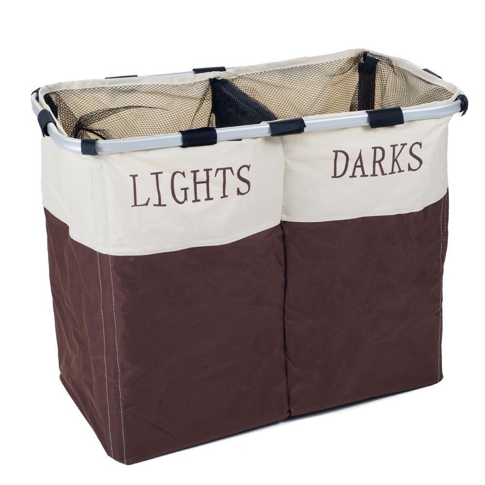 Lavish Home 2 Compartment Foldable Canvas Laundry Hamper W050027
