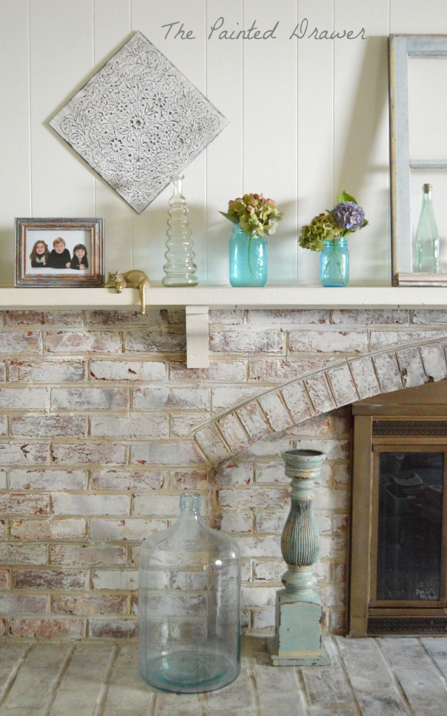 vintage window, vintage glass, Whitewashed Brick Hearth by