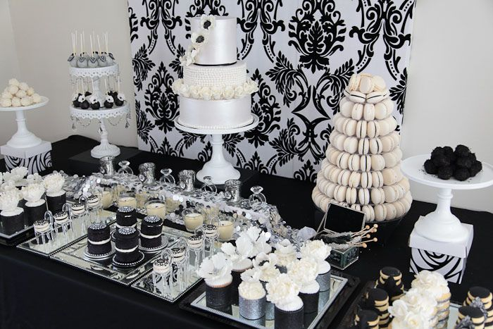Glamorous Black And Silver And White Dessert Table By Divine Sweets And Cakes White Dessert Tables White Desserts Dessert Table