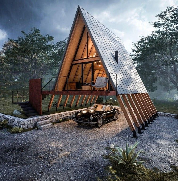 Simple Aframes House In The Woods A Frame House Plans Triangle House