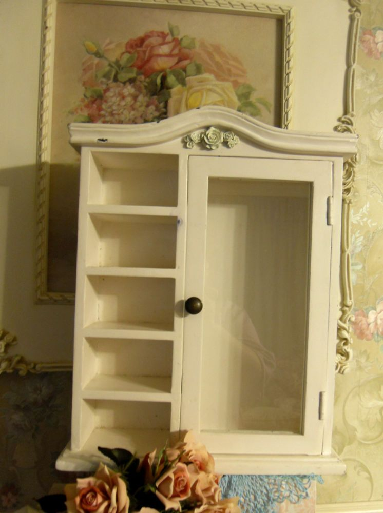 Small Wall Mount Curio Cabinet W Glass Door 5 Shelves Shabby