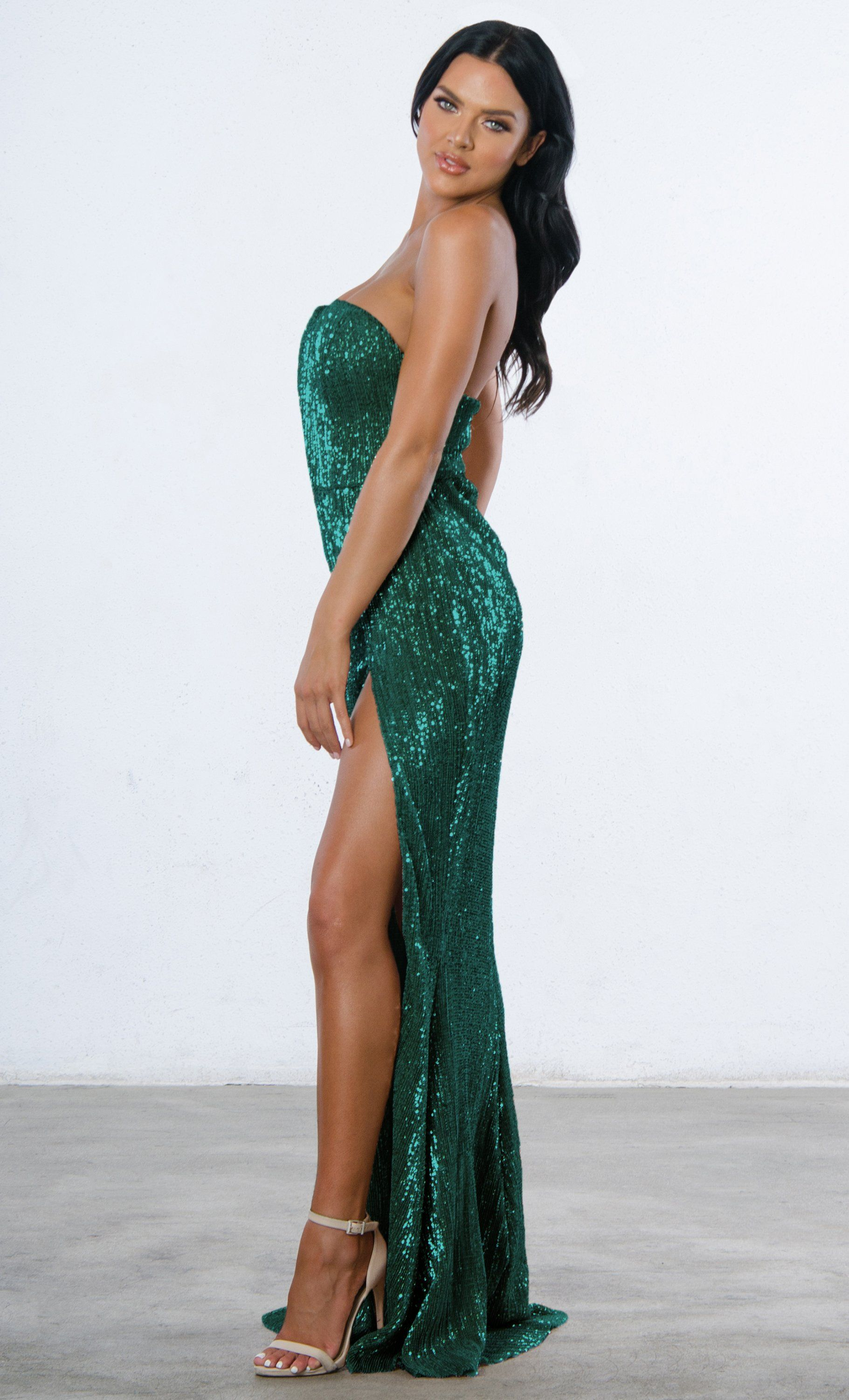 dd8939e1e0c0 Indie XO Show Me Some Love Sequin Strapless Sweetheart Neck High Slit