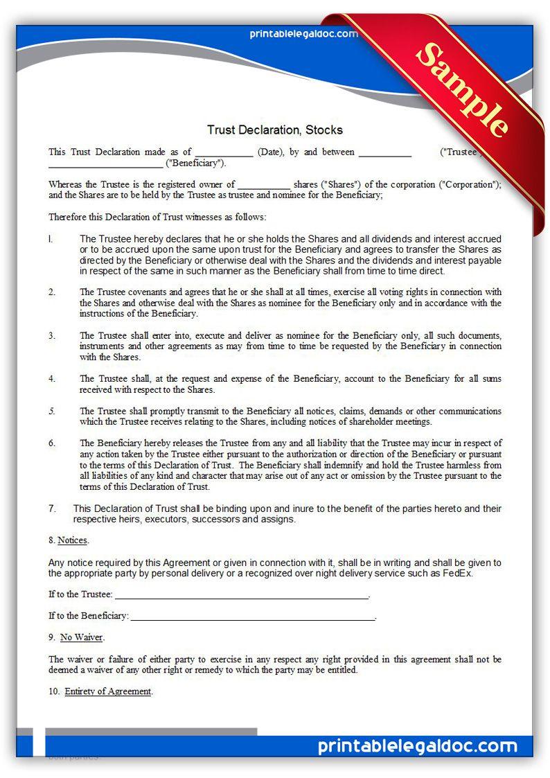 Printable Trust Declaration Stocks Template  Printable Legal