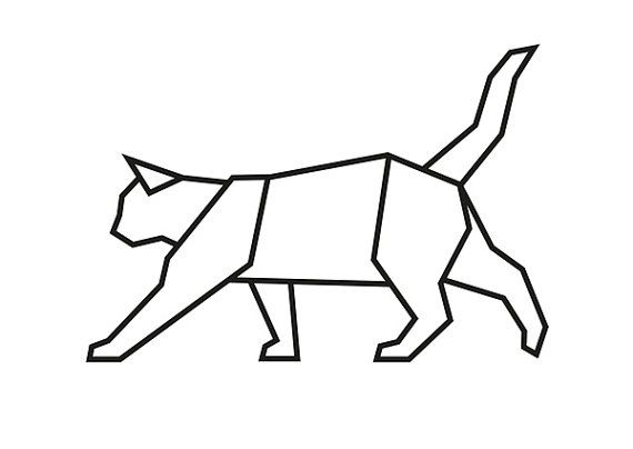 Geometric Cat, Origami Cat, Cat Wall Decal, Cat Prints
