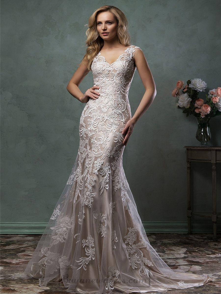 Luxury mermaid vneck lace wedding dress with illusion back spring