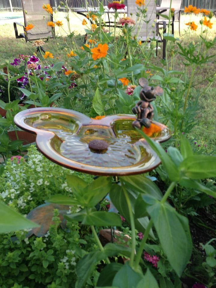 Mickey Mouse Birdbath In Garden I Want This In My Flower Garden