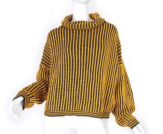 0c8c9ca59 Vintage 80s Slouchy Women's Turtleneck Sweater - Medium - Oversized Bright  Yellow and Black Striped Baggy High Neck Pullover Jumper