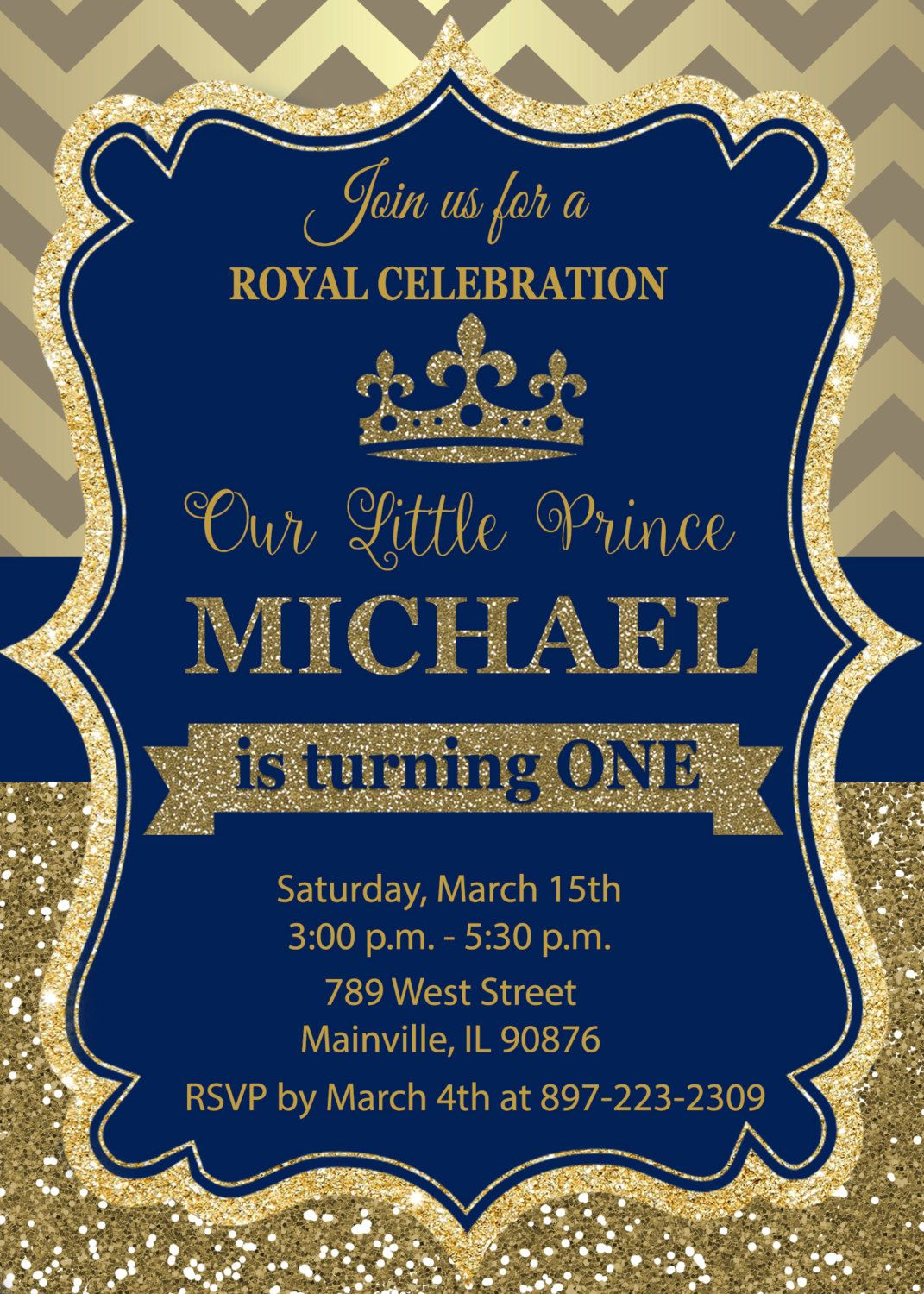 prince birthday party invitation first birthday royal. Black Bedroom Furniture Sets. Home Design Ideas